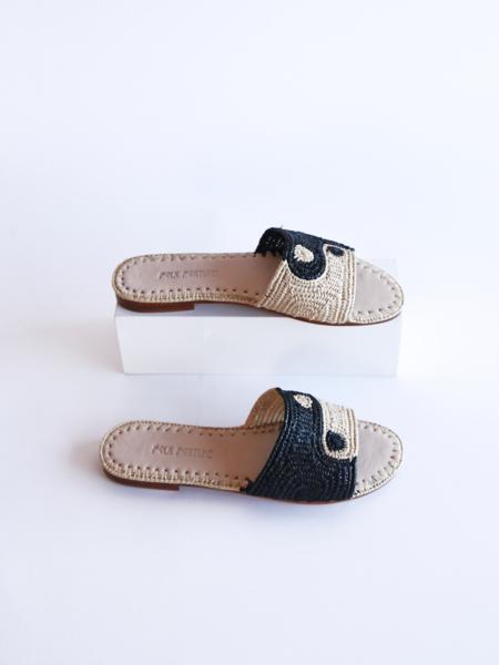 Folk Fortune Yin Yang Raffia Sandals - black/natural