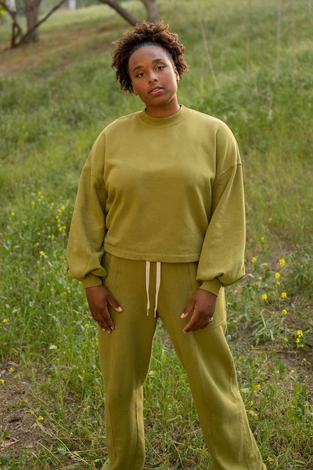 back beat rags BBCO x I.E Recycled Cotton Puff Sleeve Sweatshirts - Pistachio