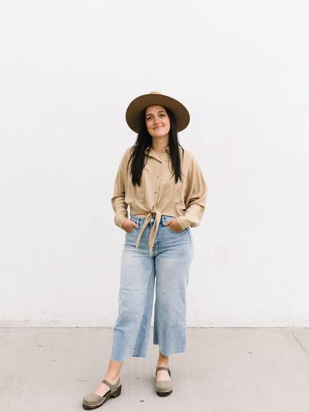 Lumiere Tie Front Buttondown top - Taupe