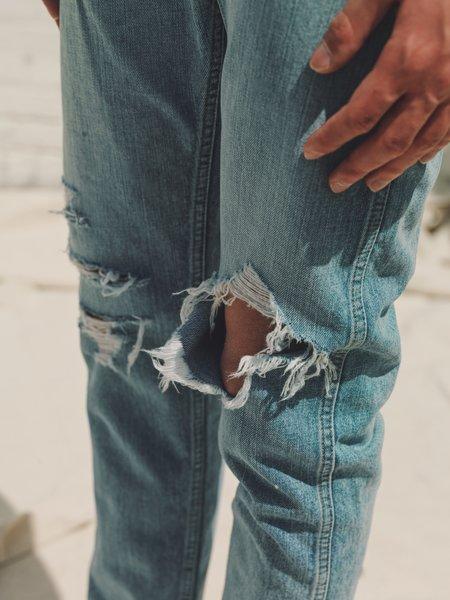 The Letters Grunge Slim 5-Pocket Denim - Indigo Washed