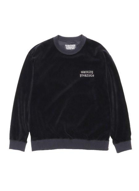WACKO MARIA Velour Crew Neck Sweater - Black