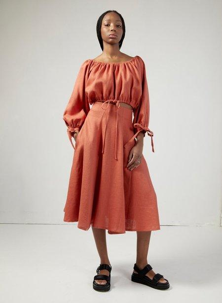 Eliza Faulkner Berkley Skirt - Terracotta Linen