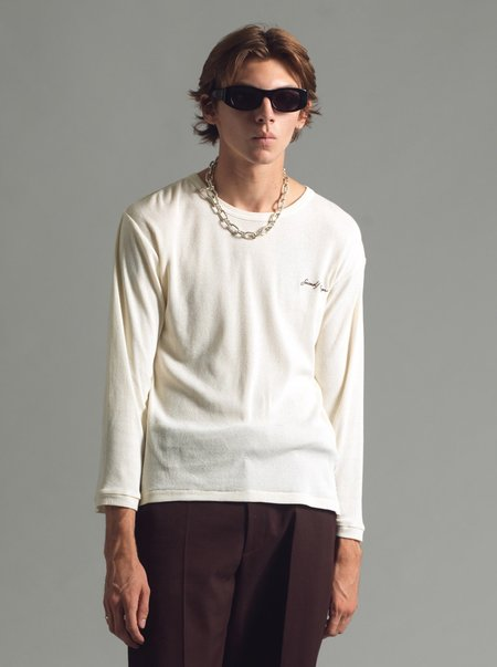 SECOND/LAYER Long Sleeve Ribbed Tee - Antique White