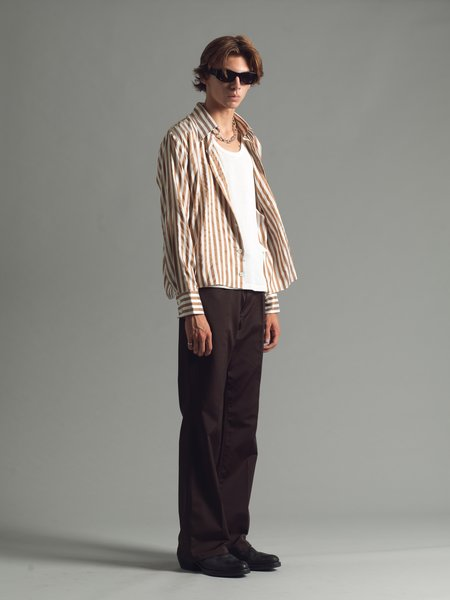 SECOND/LAYER Cropped Stripe Ancho Shirt - multi