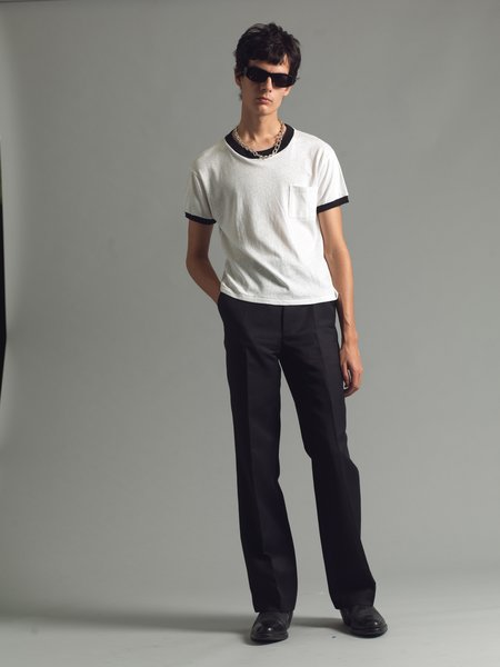 SECOND/LAYER Core Ringer Tee - White/Black