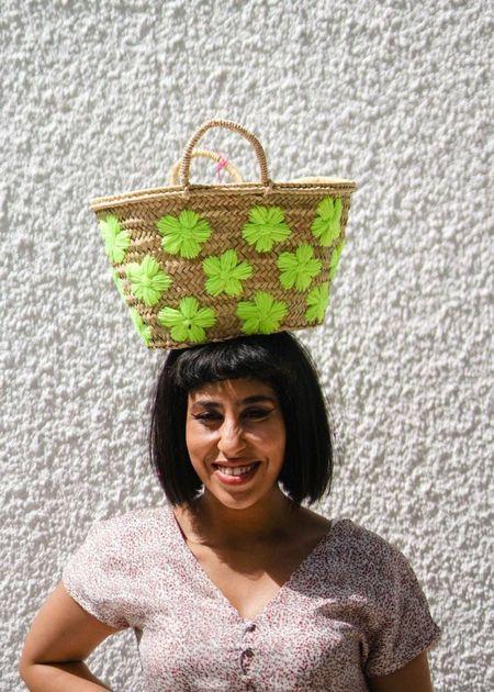 Marrakech Shop Design Small French Market Basket - Neon Daisy