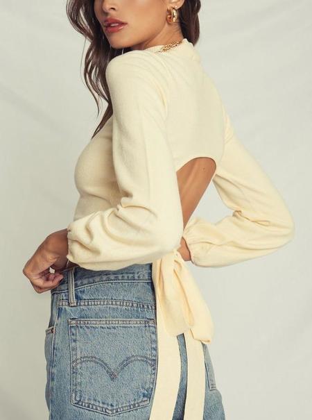 4Sienna Open Back Mock Neck Sweater - Cream