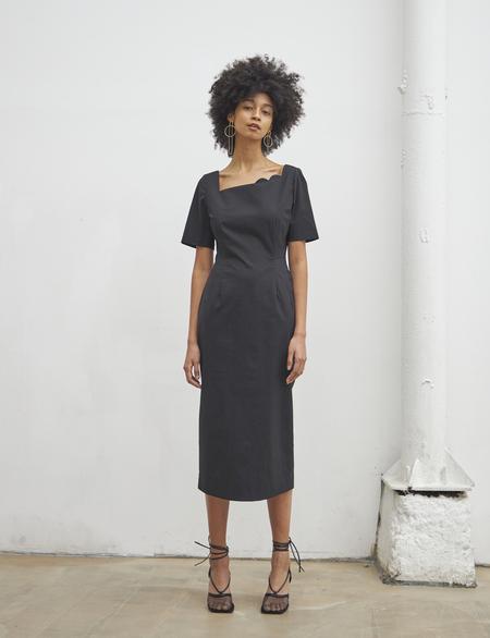 Maison De Ines SECOND HALF MOON NECK DRESS - black