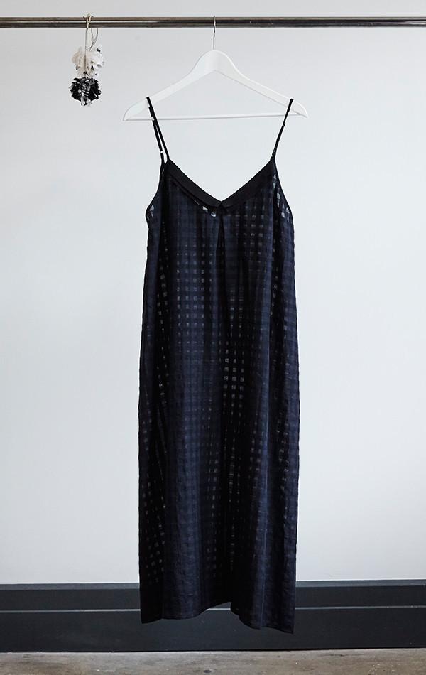 Two New York Grid Slip Dress with Grosgrain ribbon