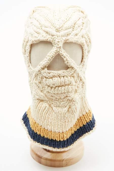 Kapital Cotton Hand Knit SKULL Beanie - Natural