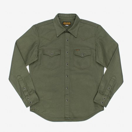 Iron Heart IHSH-235-ODG Military Serge Western Shirt - Olive Drab Green
