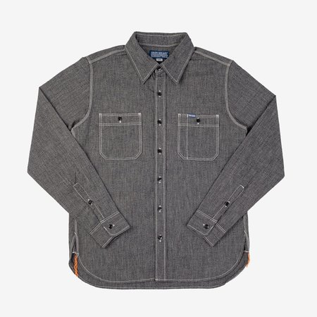 Iron Heart IHSH-290 Mock Twist Selvedge Chambray Work Shirt - Black