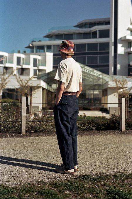 Universal Works Linen Cotton Stripe Double Pleat Pant - Navy