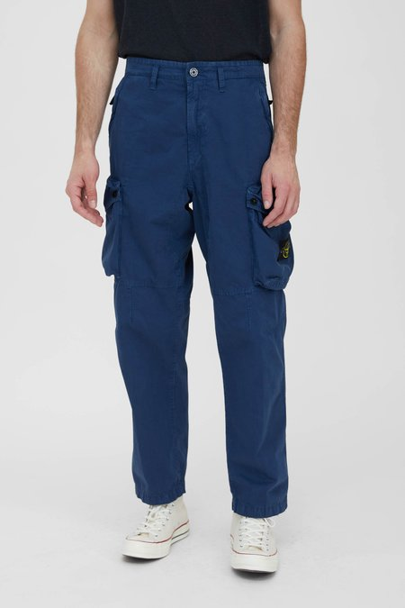 Stone Island Brushed Cotton Canvas Loose Cargo Pants - Dark Blue