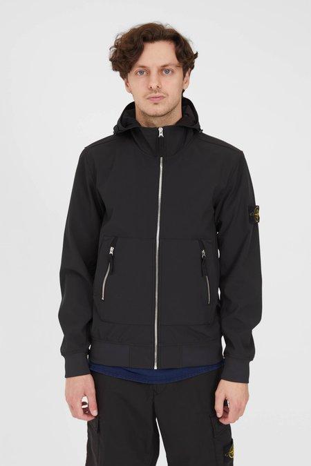 Stone Island Light Soft Shell-R e-dye Hooded Jacket - Black