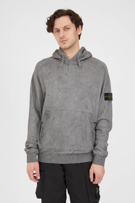 Stone Island Melange Cotton Fleece Hooded  Dust Color Sweat Shirt - Black