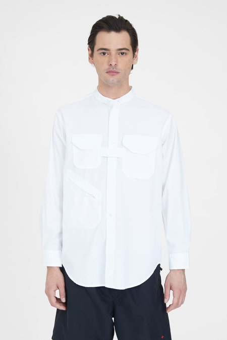 Engineered Garments  100's 2Ply Broadcloth Banded Collar Shirt - White