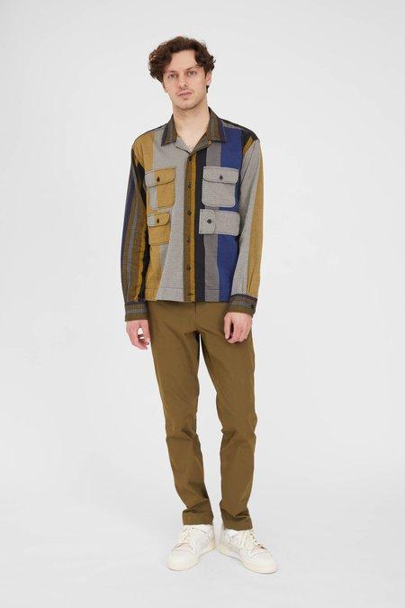 Engineered Garments Cotton Bowling Shirt - Yellow/Grey Zig Zag Dobby Stripe