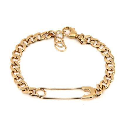 Godfrey and Rose Large Safety Pin Bracelet - Gold Vermeil/White Sapphire