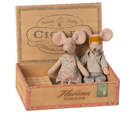 Kids Maileg Mum and Dad Mice in Cigarbox