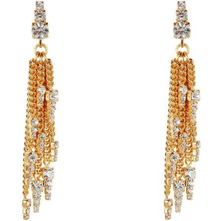 Elizabeth Cole Gretel Fringe Earrings - Gold