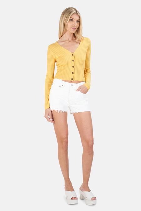 NAADAM Ribbed Crop Cardigan Sweater - Orange