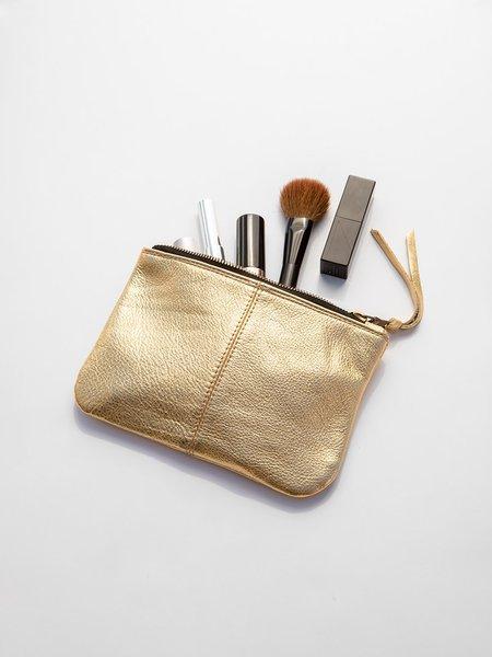 Erica Tanov Metallic Leather Makeup Bag - Gold
