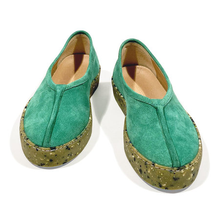 Reality Studio Ming Slip Ons - Emerald Green Suede