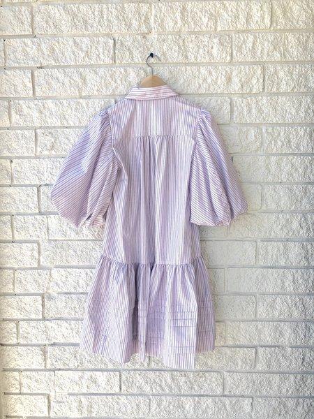 Lee Mathews Anika Puff Mini Dress - Pink Stripe