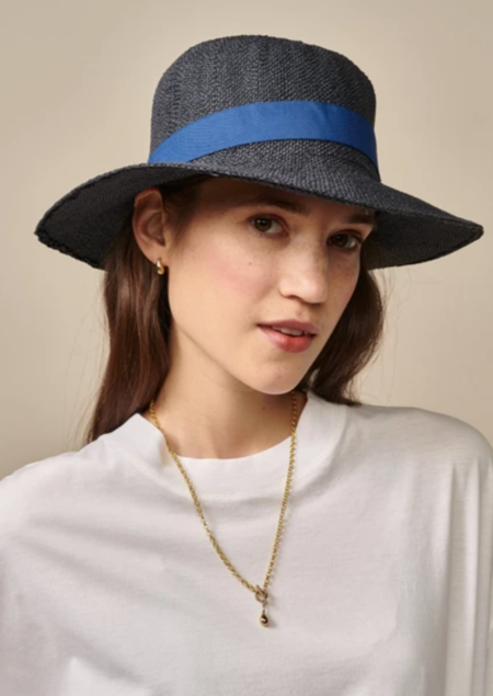 Bellerose Parlo Straw Hat - Navy/Blue
