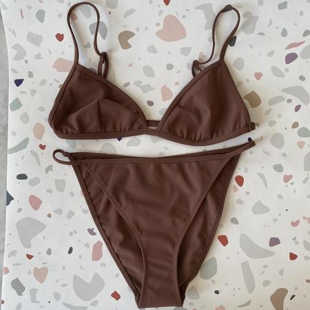 Nu Swim Yes Fixed Triangle Bikini Top - Cocoa