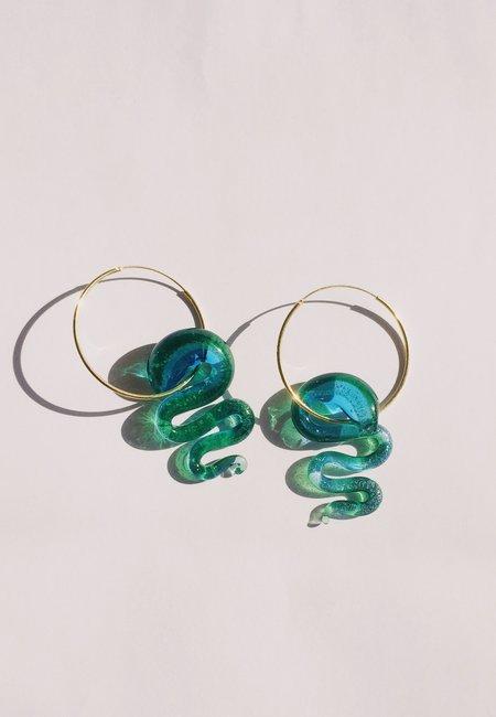Ninfa Handmade Snake Earrings - transparent