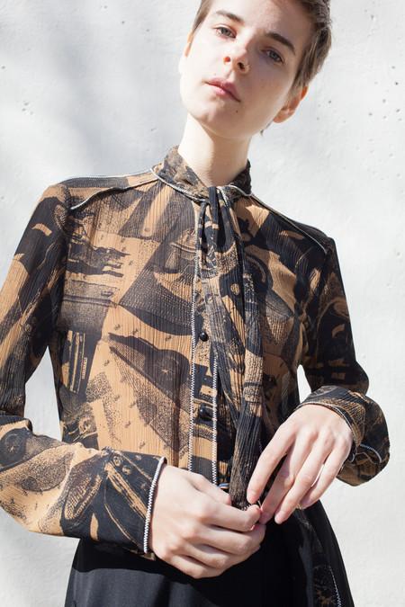 Veronique Leroy Long Crepon Shirt in Cognac