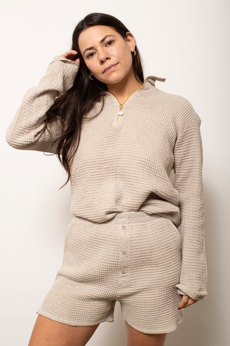 Donni. Waffle 1/2 Zip Pullover - Stone