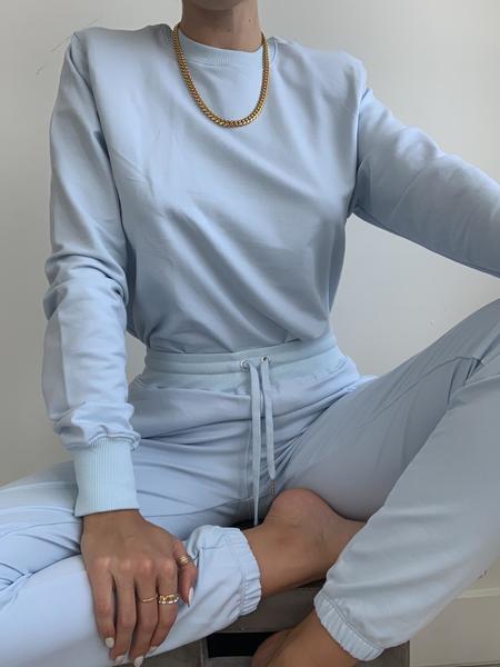 Parentezi Crew Neck Shoulder Pad Sweater - Baby Blue