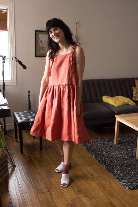 Eliza Faulkner Tig Linen Dress - Terracotta