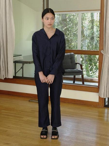 A--Company Off Kilter Shirt - Indigo Stripe