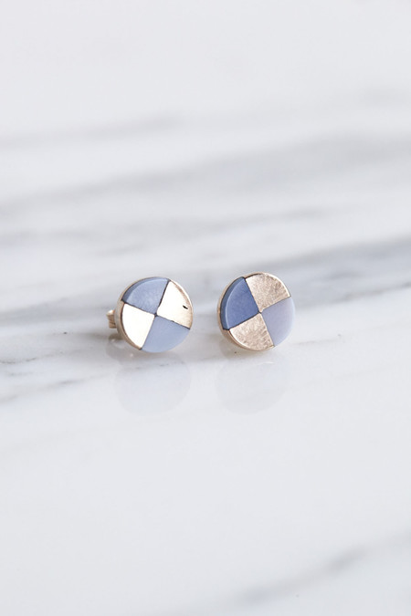 Ursa Major Ray Studs in Rose Gold & Blue Opal