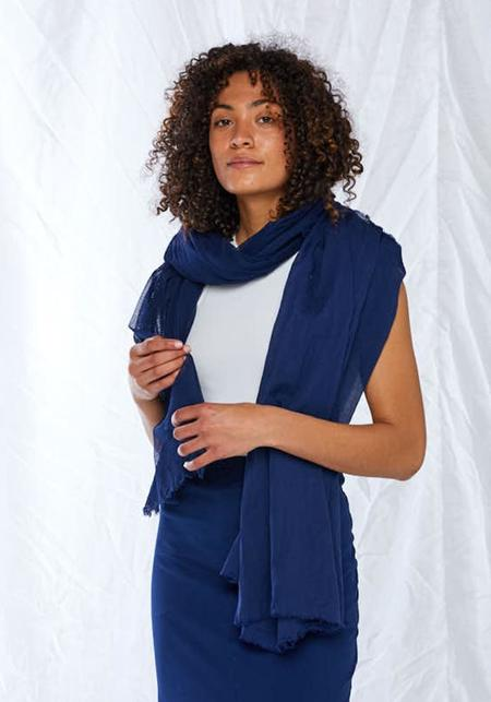 Rundholz Cotton Mesh and Voile Scarf - blue