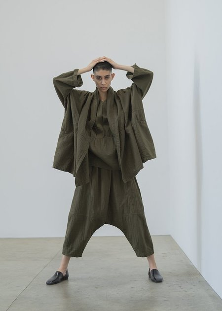 Atelier Delphine Kiko Crinkled Cotton Pant - Hunter Green