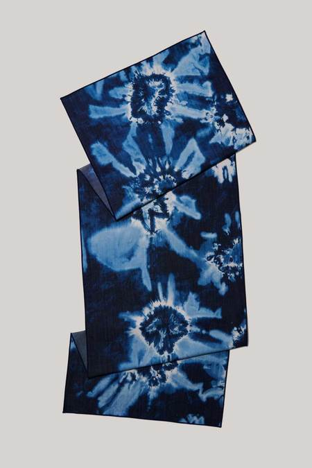 ATELIER SAUCIER Tie-dye Denim Linen Centerpiece Runner