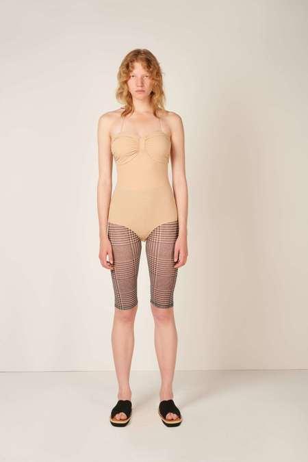 MM6 Maison Margiela Ruched Detail Swimsuit - Beige