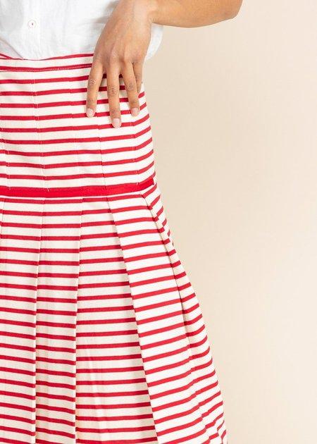 Echappees Belles Kaki Skirt - Red Stripe
