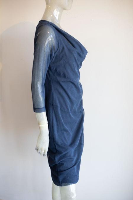 Porto Mesh Cowl Neck Dress - blue