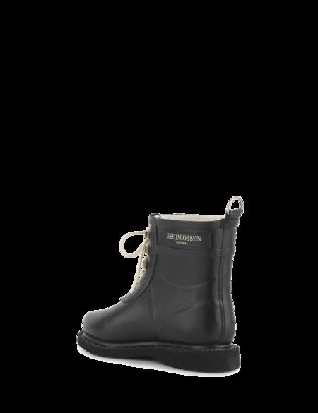 Ilse Jacobsen Short Rubber Boot with Laces - Black