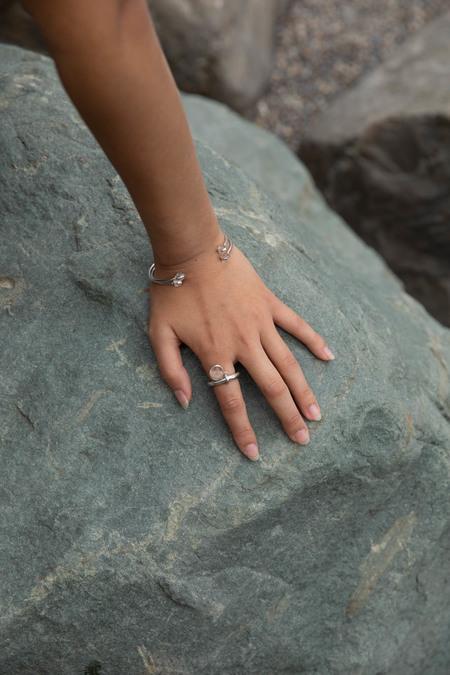 Hana kim Bubble bangle - silver/Swiss Jade