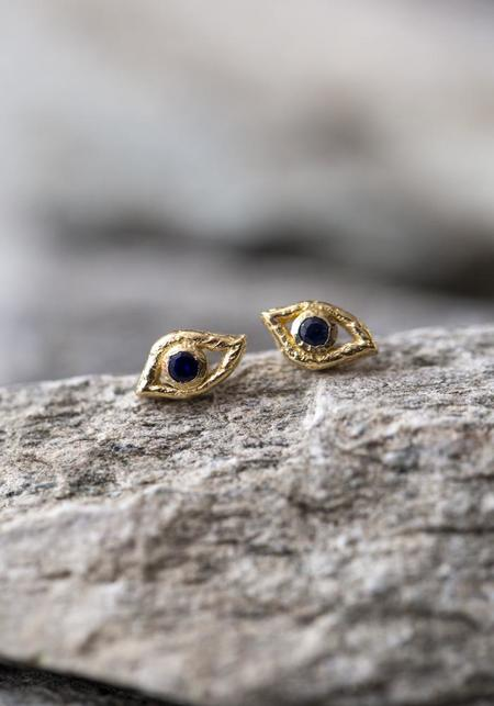 JACQUELINE ROSE Eye of Horus Studs - 14KT Gold/Sapphire