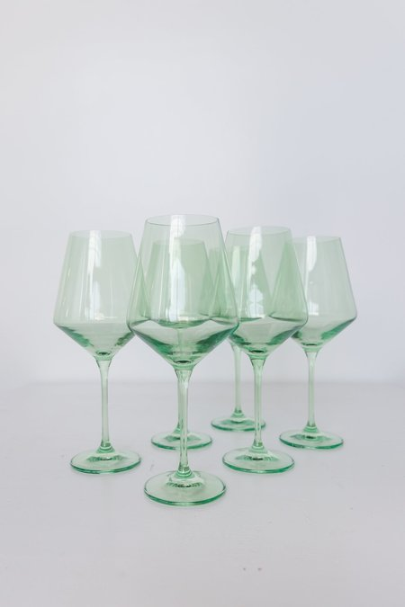 Estelle Colored Glass Wine Glasses - Mint Green