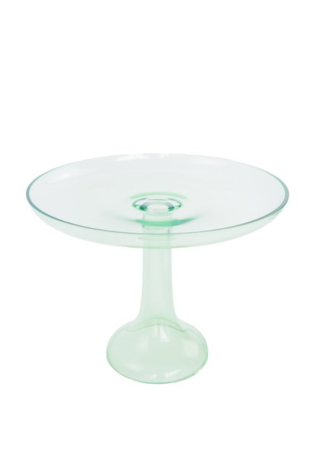 Estelle Colored Glass Cake Stand - Mint Green