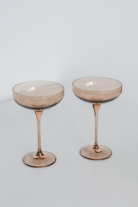 Estelle Colored Glass Coupe Glasses - Amber Smoke